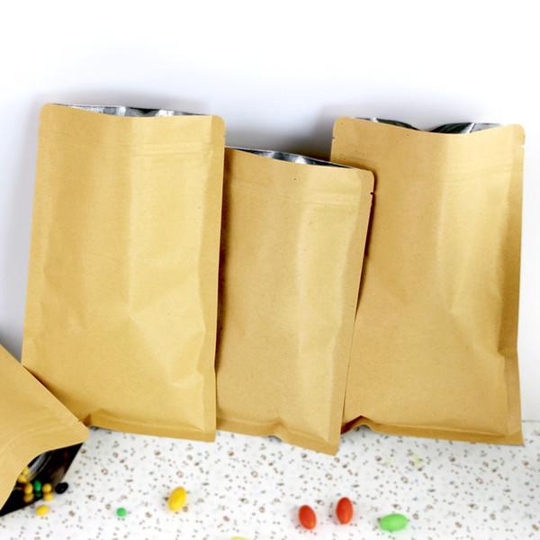 Kraft Paper Mylar Zip Lock Doypack Bag Alimenti per il tè Snack Sacchetti di stoccaggio Stand Up Packaging Ziplock