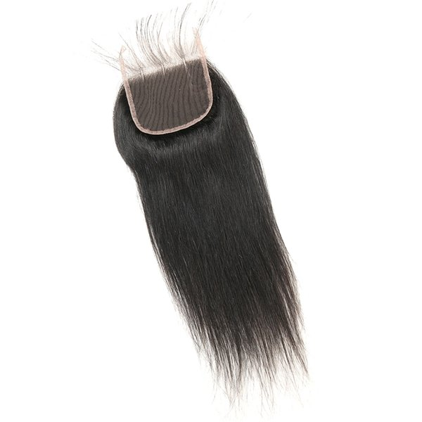 Remy Indian Straight Human Hair Lace Closure 4x4 Free Part Middle Part Three Part Human Hair Lace Closure