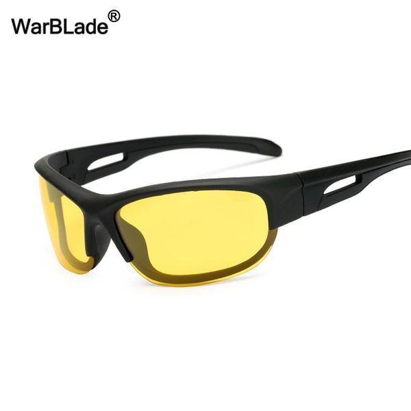 WarBLade Yellow Lens Night Vision Lunettes de soleil pour hommes Lunettes de soleil polarisées Pilotes de voiture Lunettes anti-reflets Lunettes de sécurité au volant