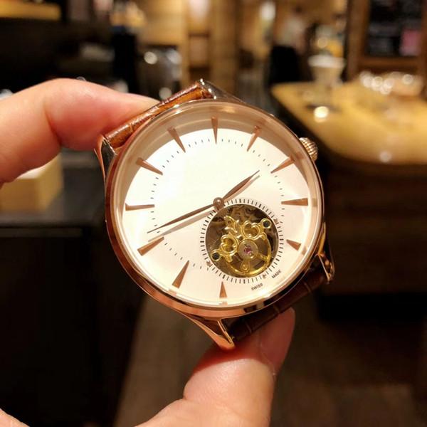 Relógio de homem elegante, simples agulha dupla, design de disco oco volante, movimento mecânico totalmente automático, nano-placa de aço inoxidável 316L