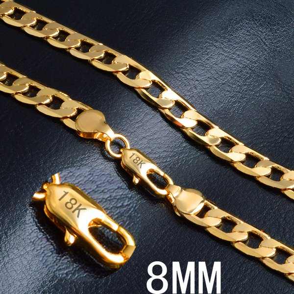 Wholesale High Quality 18K Gold 8MM One Side Necklace 16-24inches 925 Sterling Silver Snake Chain Necklace Fashion Jewelry