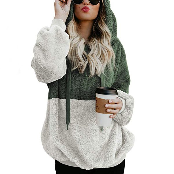 good quality Solid Color Stitching Autumn And Winter Women's Hooded 2018 Casual Zipper Plush Hoodies Women's Loose Pullover Sweatshirt