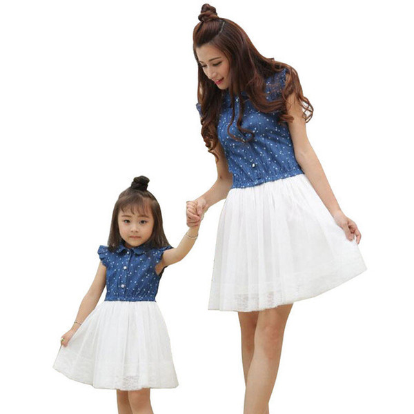 Mother Daughter Dresses Summer Family Outfits Mom and Daughter Dress Matching Clothes Blue White Dress for Kids and Women