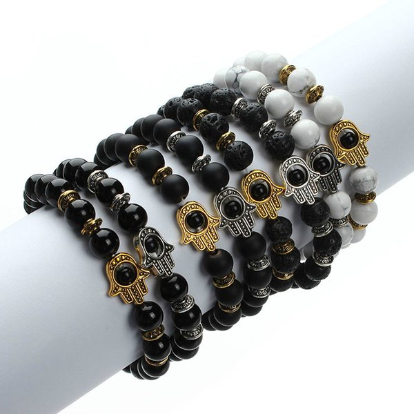 2018 Natural Stone Black Lava Beads Bracelet Men Gold Color Hamsa Hand Charm Energy Yoga Mala Bracelets For Women