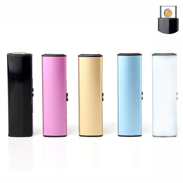USB recargable Lighter Slim Simple a prueba de viento encendedores electrónicos de doble cara Empuje encendedores Creative Electric Lighter envío gratis