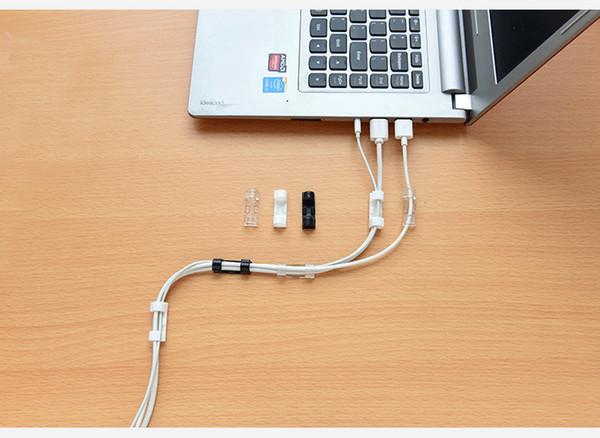 Fio de cabo de Linha de Clipe de Linha de Dados do Cabo de Alimentação Titular do Hub 20 pçs / set Fio de Cabo de Organizador de Linha de Carregador USB Fio Titular do Fone de Ouvido Winder