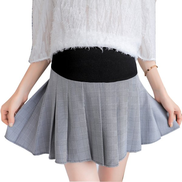 Pengpious беременность вне одежда летняя мода свободные брюшной плиссированные юбки высокой талией материнства живот skort юбки формальные