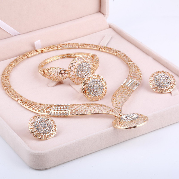 top popular Dubai Gold Jewelry Sets Nigerian Wedding African Beads Crystal Bridal Jewellery Set Rhinestone Ethiopian Jewelry parure 2020