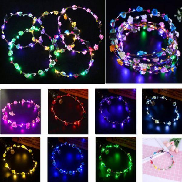 Led Flashing String Glow Blume Stirnband Mädchen Frauen Kranz Licht Krone Haarstab Für Party Hochzeit Weihnachtsdekoration HH7-1775