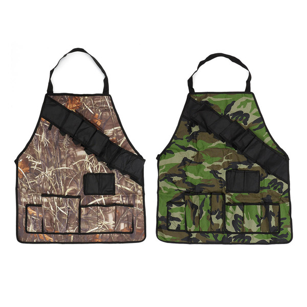 Outdoor BBQ Barbecue Cooking Waterproof Aprons Camouflage Camping Picnic Grill Apron With Multi Pockets against dirt smokes and oil splashes