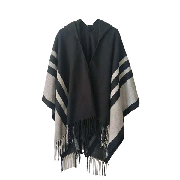 VOGUE Winter Women Loose Coat Oversized Knitted Cardigan Sweater Cashmere-Like Striped Plaid Tassels Poncho Cape Shawl Cloak With Hood
