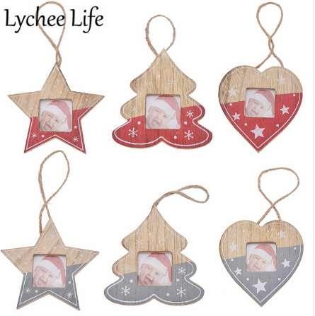 Личи жизнь DIY Рождество фоторамка кулон Звезда форма сердца дерево фоторамка современный простой стиль партии домашнего декора