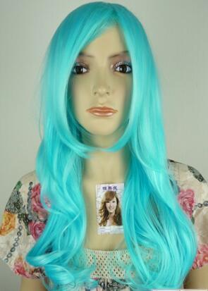 Freies Verschiffen +++++ Neue Art und Weise Lolita blaues langes lockiges Cosplay-Haar-volle Perücken
