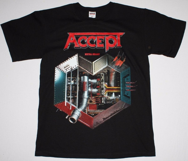 T Shirts Clothing Free Shipping O-Neck Fashion Mens Accept Metal Heart Udo Heavy Metal Band Runninger Wild Rage Shirt