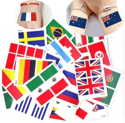 best selling 2018 World Cup National Flag Tattoo Sticker Temporary Brazil Russia Flag Football Game Body Face Hand Tattoo for kids&adults