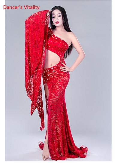 Lady Women Female Belly Indian Oriental Dance Diamond Single Sleeve Split Dress Lace Suit Competition Practice Costume Belly Rumba Outfits
