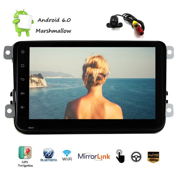 Universal Android 6.0 Marshmallow Car Stereo System Wifi Bluetooth OBD2 8'' Capacitive Touch screen Car NO DVD Player in Dash GPS Navigation