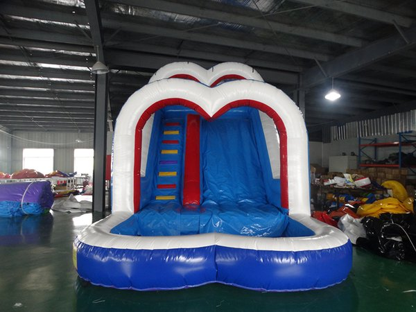 PVC 2018 hot selling high quality commercial grade double Heart inflatable water slide inflatable slide with pool