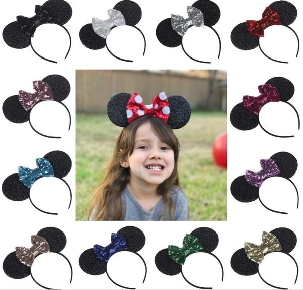 12styles Sequin shiny big bow hairband mouse ears shape children's headband holiday decor Hair Accessory fashion headwear FFA793 60PCS