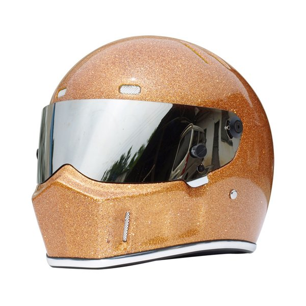 Men's FRP Motorcycle Riding Protective Helmet Cosplay Full Face Top Gear The Stig Helmet Motocross Karting Racing Gold