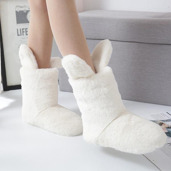 XMISTUO 2018 Cute Animal Slippers Rabbit Ear Fur Slippers Plush Home shoes Coral Fleece Indoor Floor Sock Winter Foot Warmer