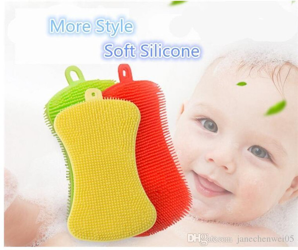 Silicone Bath Brushes High Quality Wholesale Shower Bath Scrub Sponge For Kids Cleaning Tool Baby Brush
