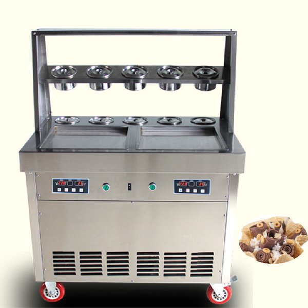 BEIJAMEI Electric Roll Ice Cream Machine Commercial Ice Fried Machine with Double Frying Pans 10 Barrels