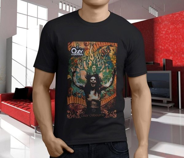 New OZZY OSBOURNE RULES Black Sabbath BARK AT MOON Uomo Nero Novità Magliette Funny Tops Tee Shirt