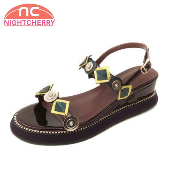 wholesale Women Sandals Wedges Buckle Open Toe Genuine Leather Ladies Shoes Geometric Fashion Daily Footwear Size 33-40