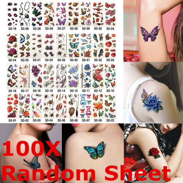 100 Sheet Random Styles 3D Temporary Tattoos Flowers Rose Butterfly Waterproof Body Art DIY Stickers Hot-stamping