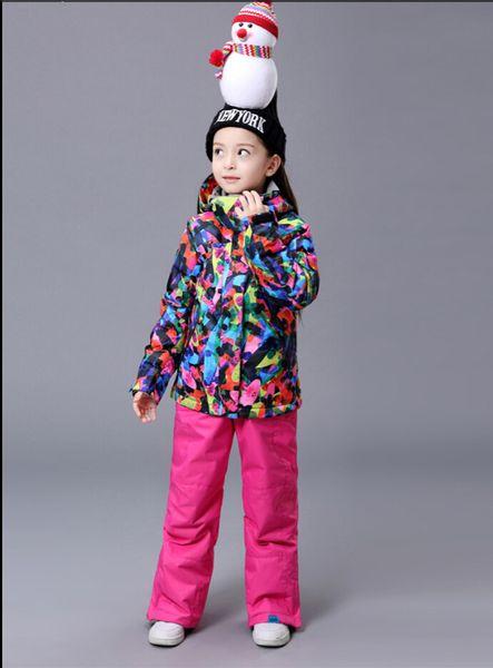 Girls Ski Suit Snowboard Jacket Pant Windproof Waterproof Outdoor Sport Wear Gsou Snow Band Kids Super Warm Suit Set Children