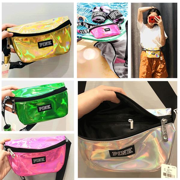 Pink Letter Waist Bag Fanny Pack Laser Transparent Beach Travel Bags Waterproof Handbags Purses Cosmetic Bag