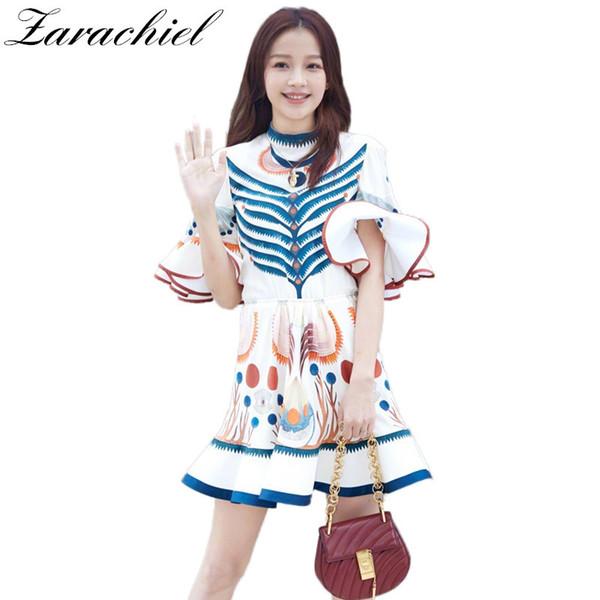 Zarachiel Small Mushroom Vintage Print Chiffon Dress 2018 New Summer Women Fashion Flare Sleeve Ruffles Mini Party Runway Dress Y1890805