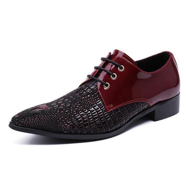 Plus Size Luxury Italian Pointed Toe Derby Man Dance Footwear Genuine Leather Alligator Men's Modern Wedding Party Shoes SL132