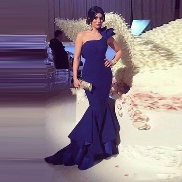 Navy Blue Satin Mermaid Long Evening Dresses New Arrived Simple Ruched One Shoulder Party Dress Robe de Soire Customize Prom Gown