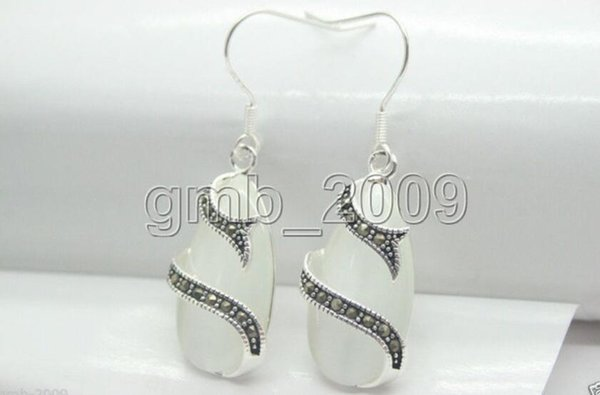 Hot vente lady mode 13 * 25 mm clear white opal 925 Sterling Silver & marcassite boucles d'oreilles