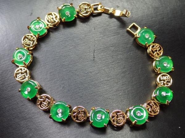 Placcato oro CINESE JADE verde * Fu * Bracciale bangle con ciambella 297547