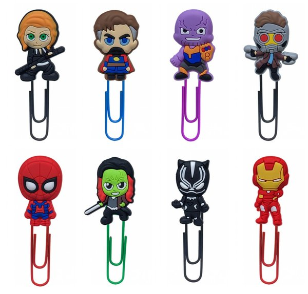 Free Shipping Avengers Infinl War Bookmarks Cartoon Metal Paperclips Student Stationery Supplies Cute PVC Souvenir Desk Decorations Kid Gift