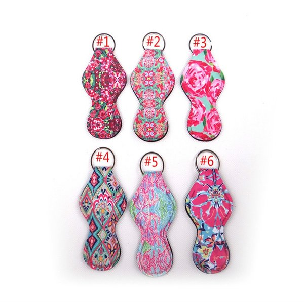 top popular Pulitzer Chapstick Holder Keychain Cover Case holder Cute Coral Rose flamingos Design Neoprene Lip Balm neoprene blanks 2019