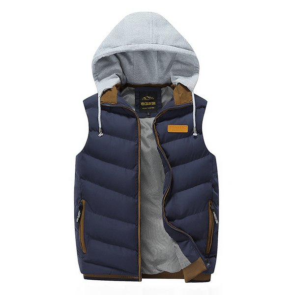 Spring and autumn youth men's down coon vest can take off the hat and trim the body pure color men's jacket youth trend