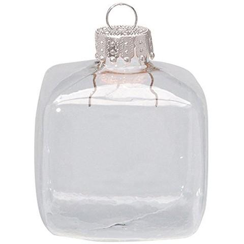 Promotion - Handmade DIY Paintable Clear Christmas Decoration, 45mm Glass Square Ornament With Silver Cap, 5/Pack