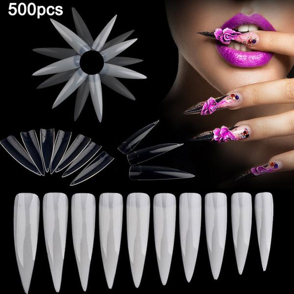 2018 Hot Sale 500 Pcs Clear Natural White Nail Tips UV Gel False French Style Green environmental resin Nail Art Accessories