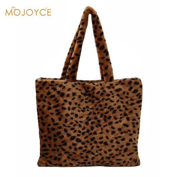 Stylish Women Plush Leopard Print Shoulder Bag Portable Famous Design Female Tote Gilrs Handbag Top-handle Bags bolsa feminina