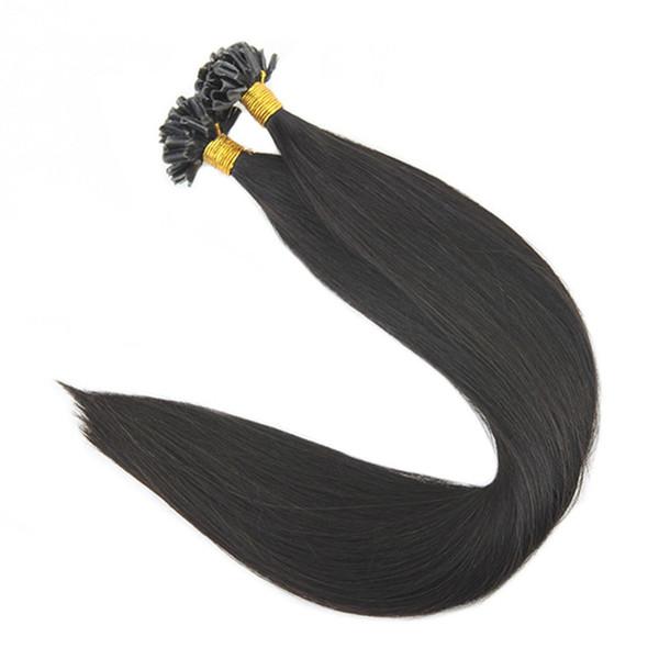 Pré collé Kératine 1g / Strand 50g Extensions de cheveux U Tip Off Noir Couleur # 1B Extension de cheveux humains Remy Extensions de cheveux Nail Tip