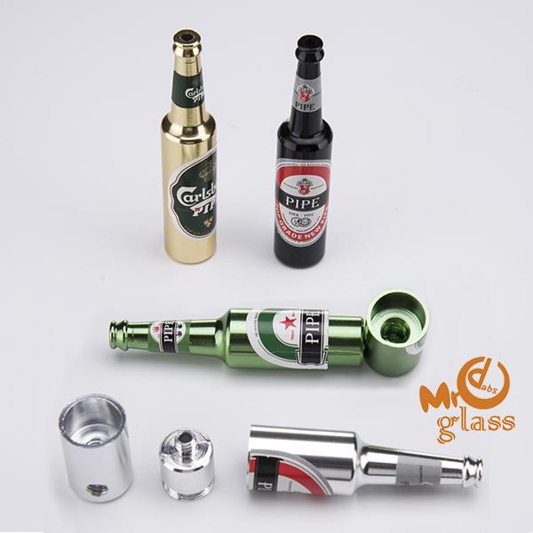 Beer Bottle Metal Smoking Hand Pipe Aluminum Pipe 70mm/96mm Mini Tobacco Smoke Filter Pipes Portable Oil Burner Pipe