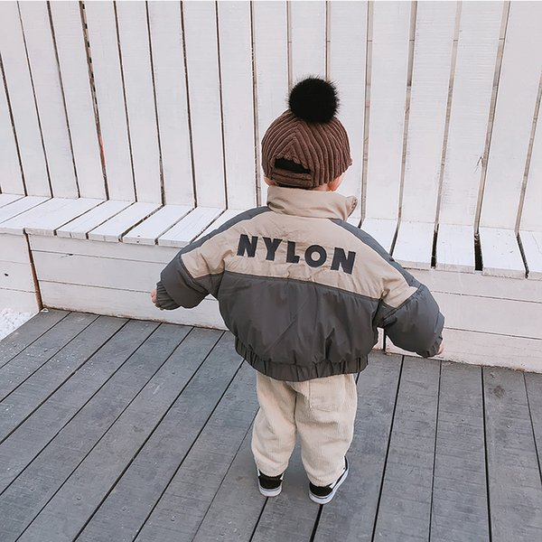 Winter Korean style infant boys letters embroidery fashion cotton-padded coats baby kids batwing sleeve stand collar down coat
