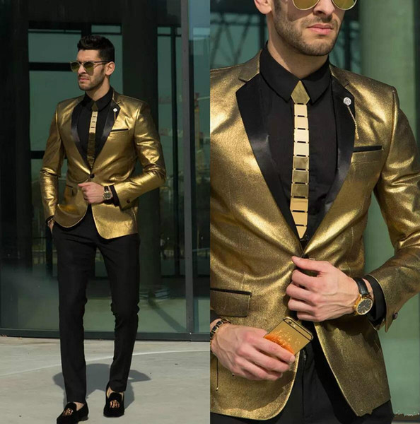 2018 New Shining Gold Wedding Suits for Men Cheap Tuxedos Slim Fit Bridegroom Wear Best Mens Suits Custom Made(Jacket+Pant)