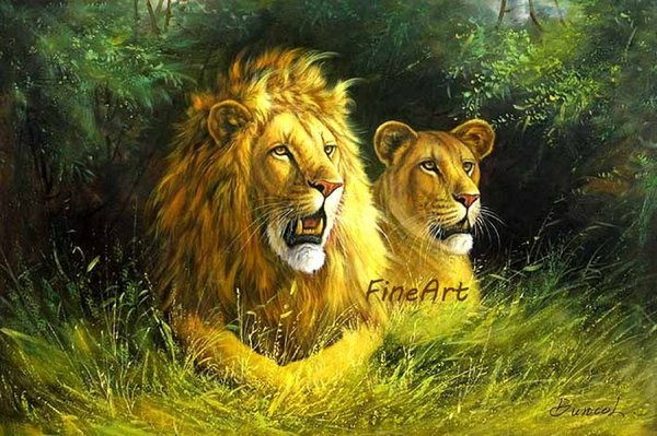 100% hand painted discount lion oil painting canvas animcal wall art décor paintings on canvas art nature painting decoration home