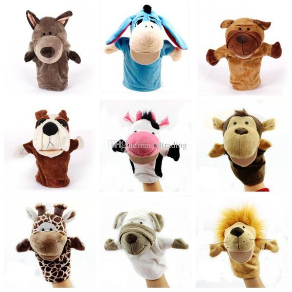 best selling Parent-child interaction Christmas Hand Puppet Toys 24CM animal Stuffed Finger Puppet For Baby Xmas Gifts C3138