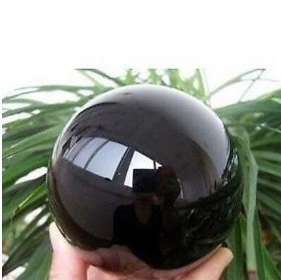 Новый!! Естественный обсидиан отполировал кристаллический шарик сферы 60MM+стойку